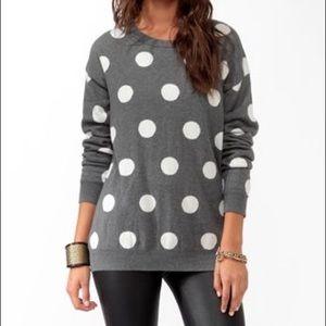 gray polka dot sweater